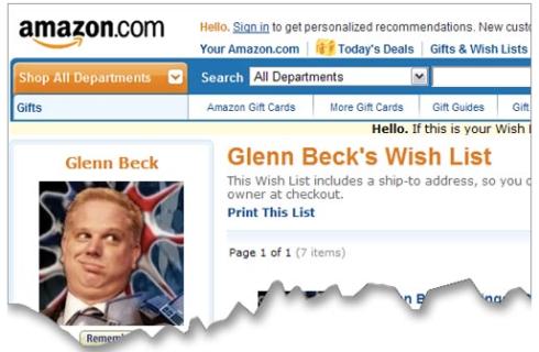 Glenn Beck's Amazon WishList by NewCorpse.Com
