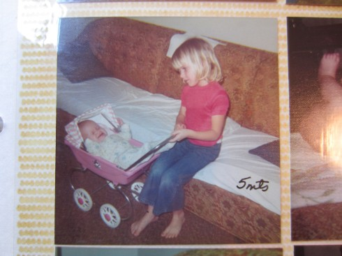 Little baby me with my adoring big sister - who would later dump me out on my head.