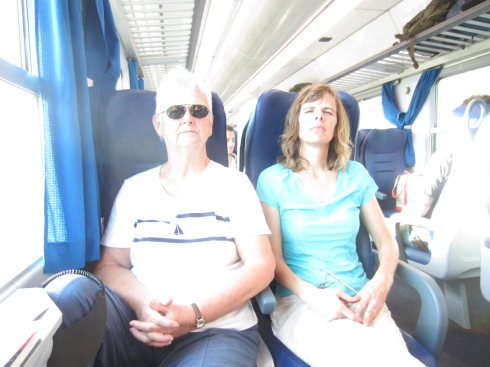 Mom and Alicia on our train TO Naples - when everyone was healthy (but apparently tired).